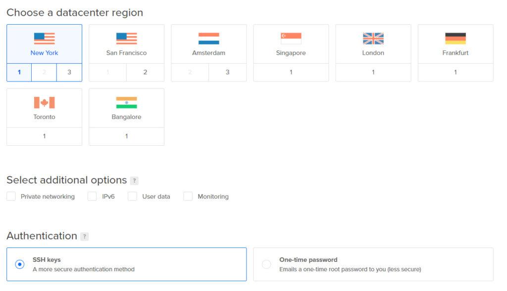 regiones de DigitalOcean